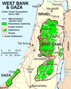 Israeli–Palestinian Conflict: Central Israel next to the West Bank and the Gaza Strip