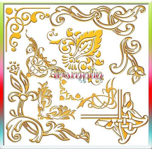 Клипарт – 14 уголков в золотом стиле для оформления Ваших работ