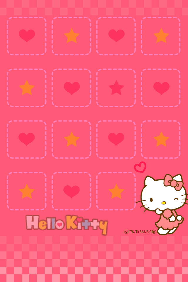 iPhone4 Wallpapers Hello Kitty Shelf on Pink Backgrounds