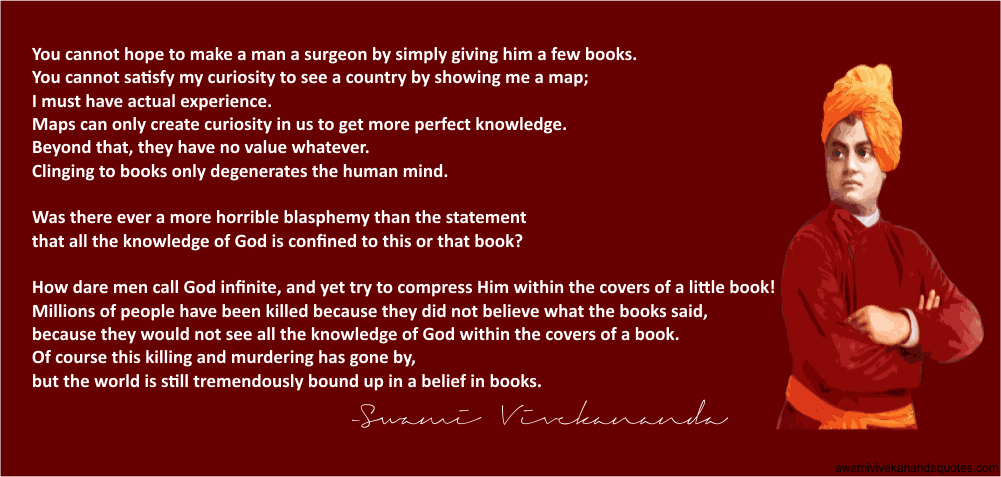 Swami Vivekananda religious quote about limitations of books