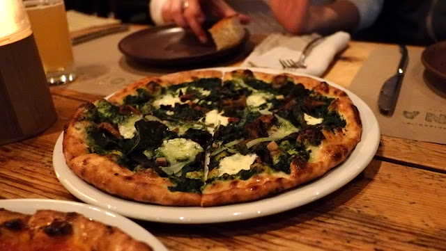 SF - Cotogna (Jackson Square) - wild mushroom, nettle, housemade bacon and fontina pizza