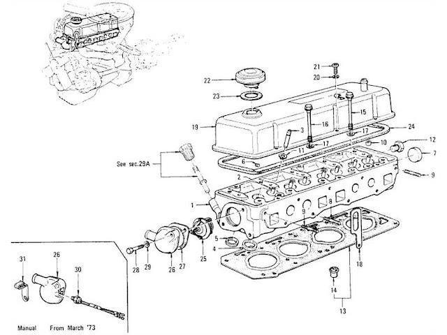 datsun 1200 cylinder head rocker cover thermostat. Black Bedroom Furniture Sets. Home Design Ideas