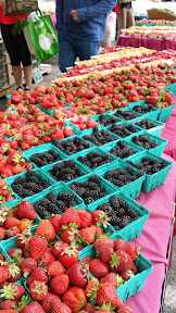 Some of the offerings at the Portland Farmers market on Saturdays at PSU - berries