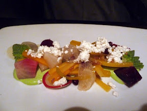 Tabla Bistro, Fall Vegetable Salad with turnip greens mousse, feta, market vegetables, mustard seeds