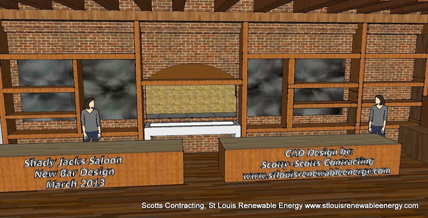 Shady Jacks Saloon CAD drawing New Bar Design- Green Build Project- CAD by Scotts Contracting www.stlouisrenewableenergy.com