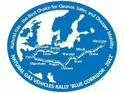 Blue Corridor 2012. Logotyp międzynarodowego rajdu pojazdów CNG i LNG