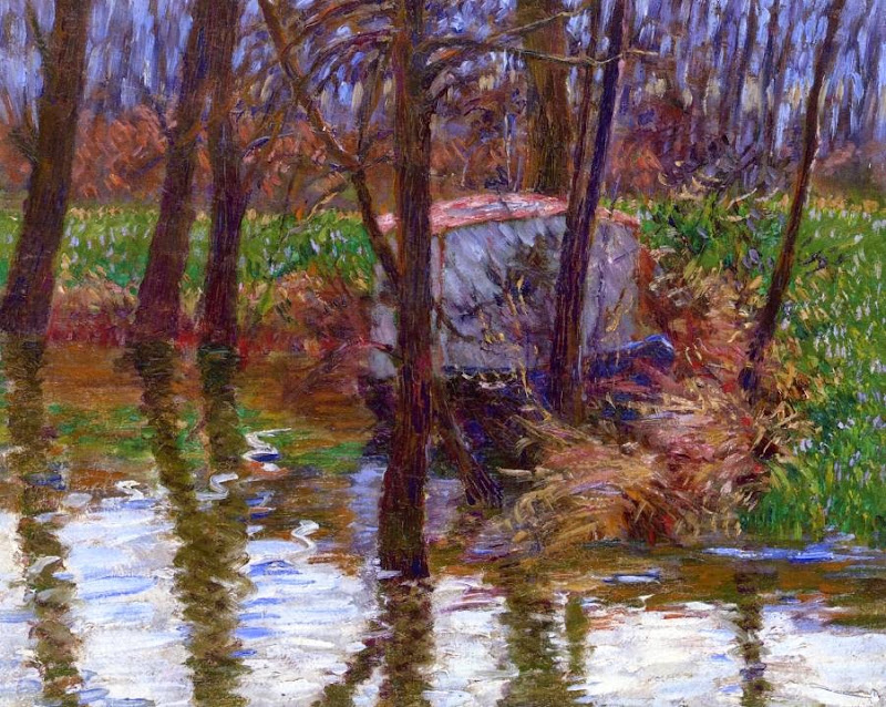 John Breck - The River Epte with Monet's Aelier-Boat