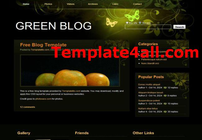 Floral Green Black CSS Website Template