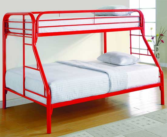 Bedroom Design Decor Red Metal Bunk Beds