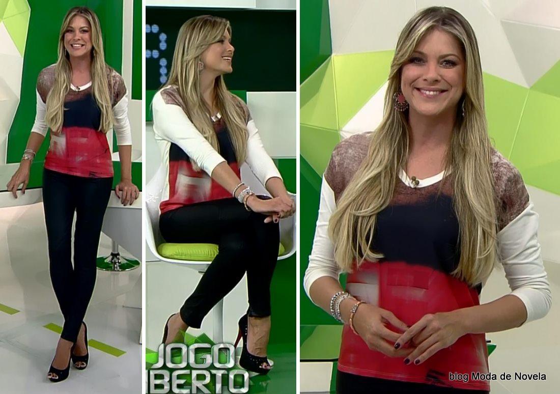 moda do programa Jogo Aberto - look da Renata Fan dia 9 de maio