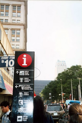 Sign for World Trade Center after the September 11 2001 terrorist attacks in New York City