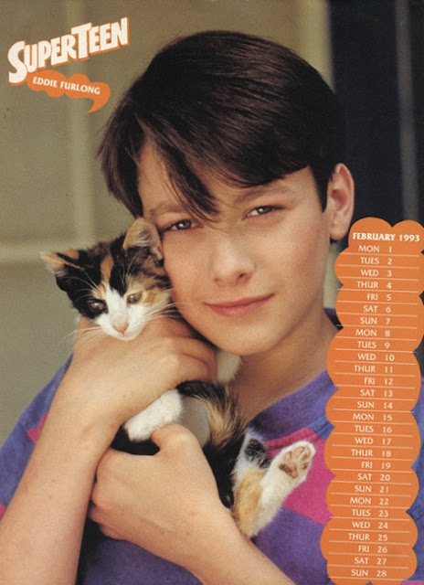 Eddie Furlong holding a small cat