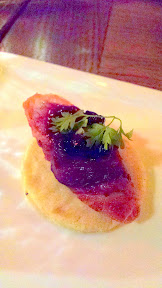 A special starter on my visit night at Zeus Cafe of Speck wrapped Rabbit Loin on a Lard Sable cracker (shortbread like) with Huckleberry Jam, touch of Chervil.