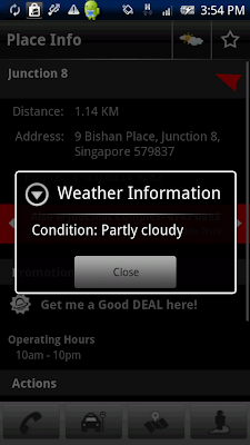 ShowNearby has a new weather feature. Singapore's leading location-based service provider shows you the weather nowcast in your area.