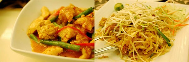 Thai food - Chicken curry and Pad Thai