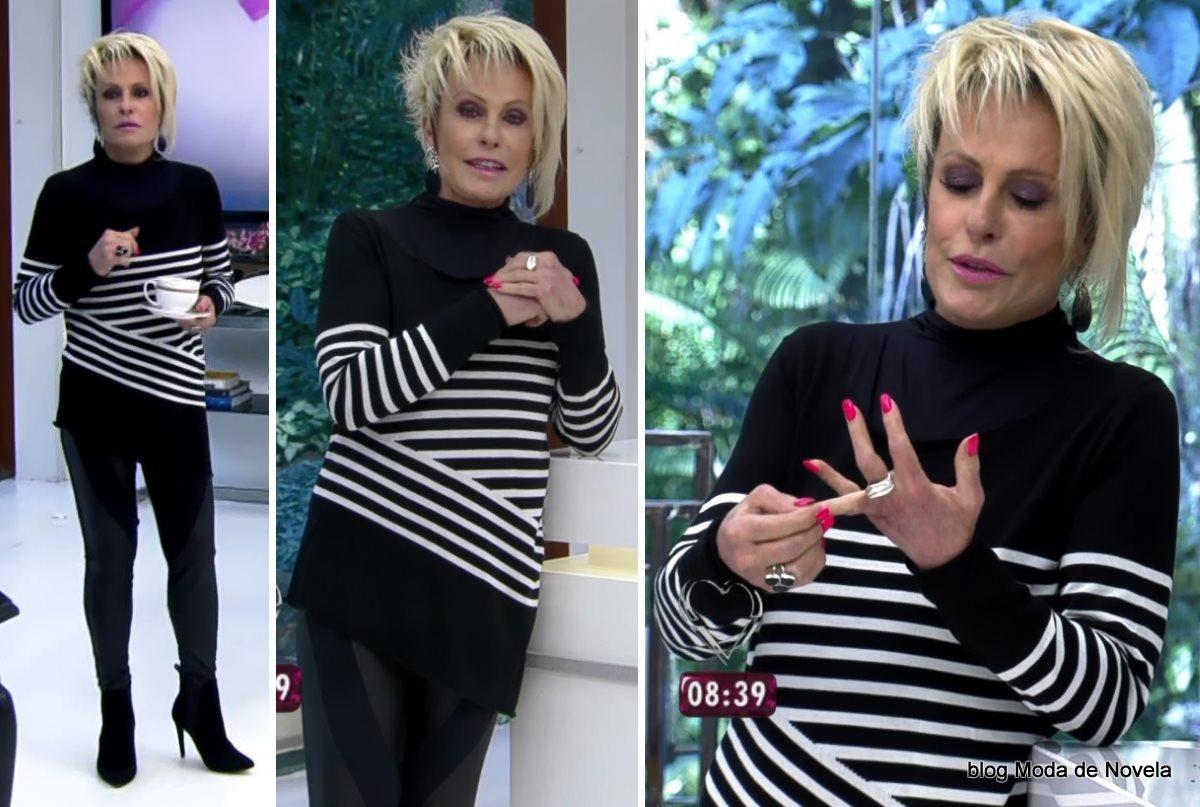moda do programa Mais Você - look P&B da Ana Maria Braga dia 22 de julho