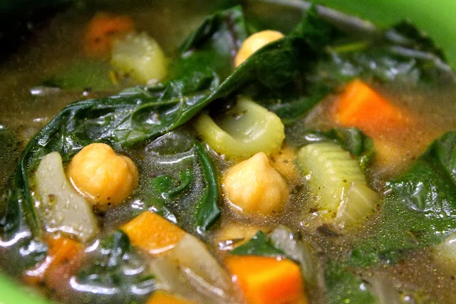Even closer close up of swiss chard soup.