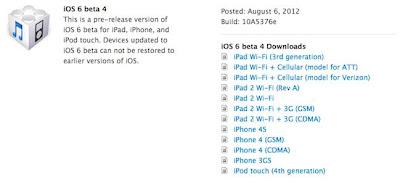 iOS 6 Beta 4 disponible