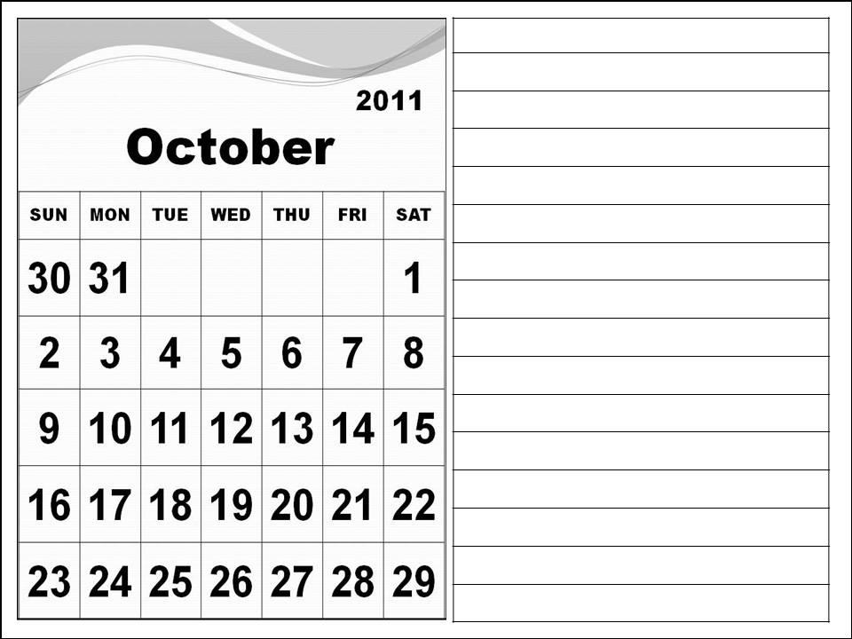 october calendar 2011. Calendar 2011 October with