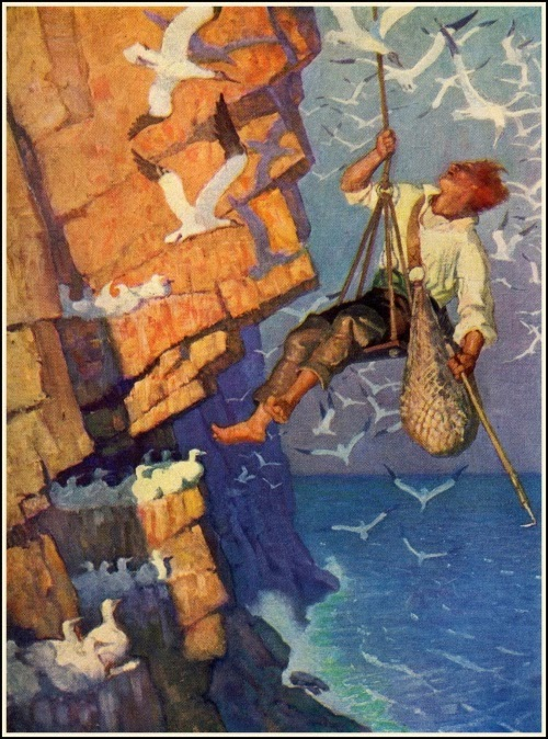 N. C. Wyeth - David Balfour. Tam on the craig face