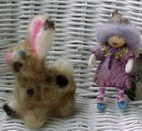 SALE Bendie Doll & Needle Felted Bunny - Tiny Stocking Stuffer - FREE shipping