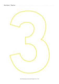 Dibujo para colorear y pintar el número tres en color amarillo