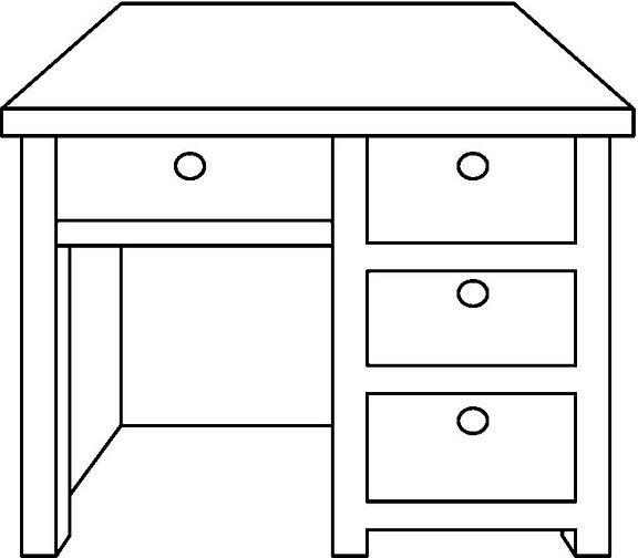 Desk coloring pages ~ 為孩子們的著色頁: Desk - free coloring pages