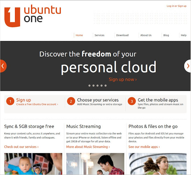 UbuntuOne Cloud storage banner page