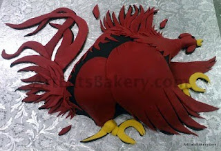 Black and garnet fondant University of South Carolina Gamecock sculpture Groom's cake design