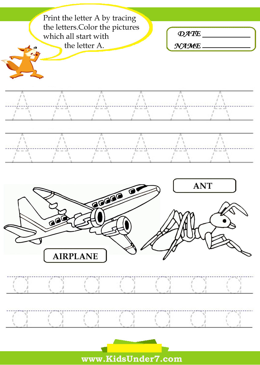 Kids Under 7: Alphabet worksheets.Trace and Print Letter A