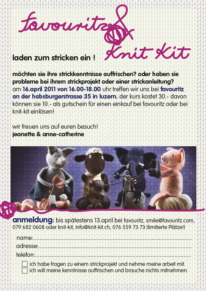 knit kit strickkurs in luzern. Black Bedroom Furniture Sets. Home Design Ideas