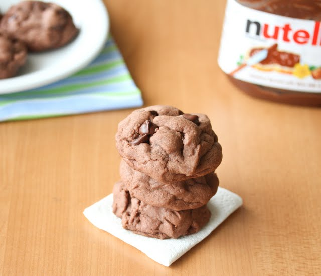 photo of a stack of Soft Nutella Chocolate Cookies