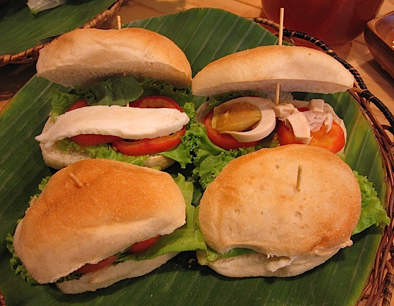 pandesal sandwiches with kesong puti and salted duck eggs at Enchanted Farm Cafe
