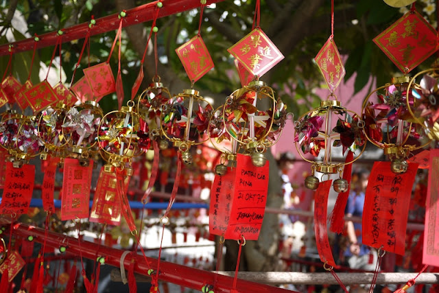 tokens for making wishes hung at A-Ma Temple in Macau