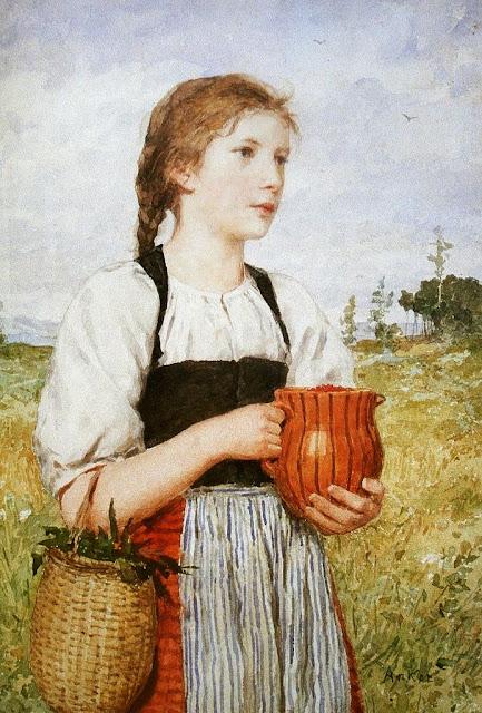 Albert Anker - Das Erdbeer-Mareili