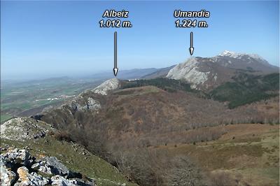Albeiz y Umandia vistos desde la cima de Artzanegi
