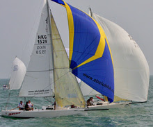 J/80 Hong Kong sailboat fleet- sailing off Royal Hong Kong YC