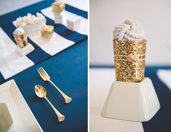 Glitter Topped Favor Bo Monkey Knot Favors And Glittery Votive Holders Against The Navy Blue Linens Add A Touch Of Fun With Flags On