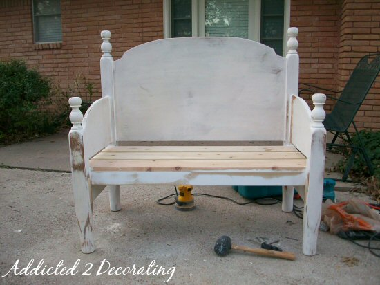 Finished headboard bench with footboard sides and diamond-tufted back