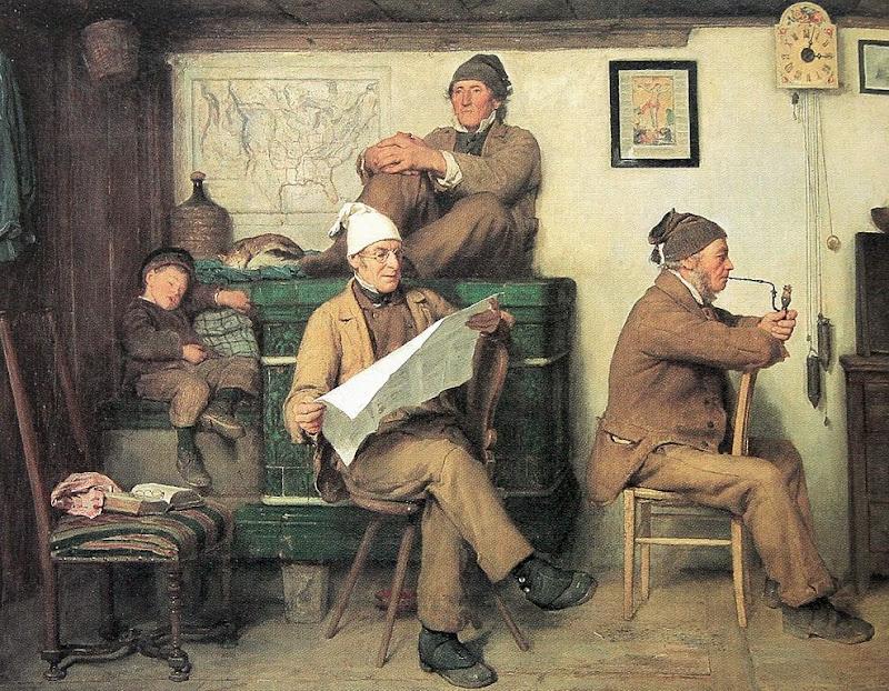 Albert Anker - Die Bauern und die Zeitung 1867
