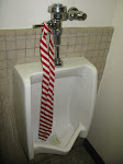 This is Tracy's tie in a urinal