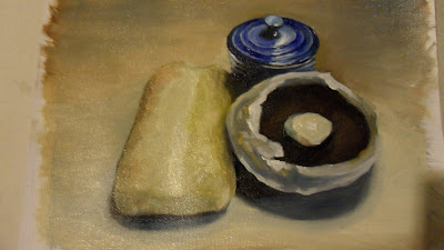 Bread and Mushroom, work in progress step 3 .Daily painting.