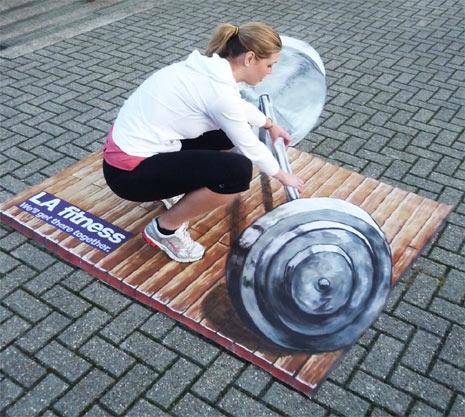 Ejemplos de publicidad 3d en el piso - LA Fitness