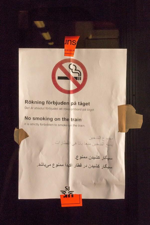 Rökning förbjuden på 4 språk