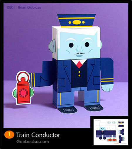 Ghostly Train Conductor Papercraft