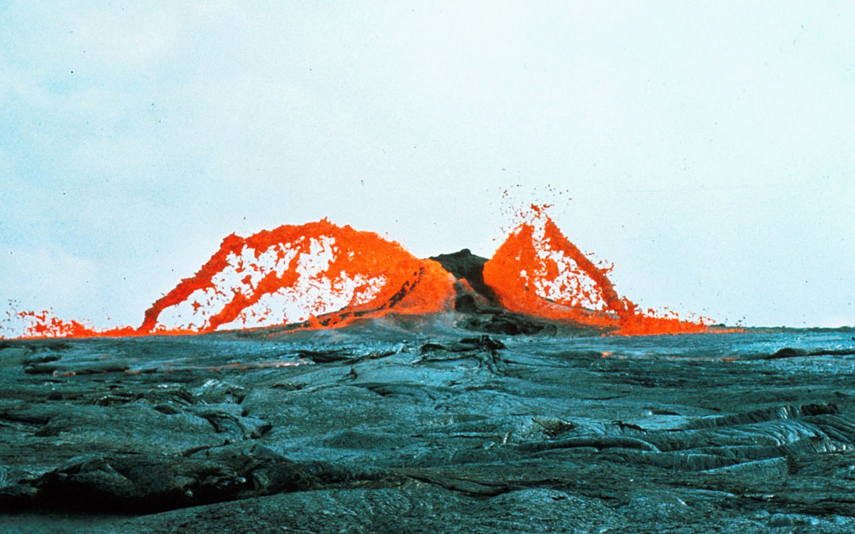 Fountain of lava venting through water