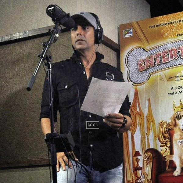 Akshay Kumar during the recording of a song for his movie Entertainment, in Mumbai, on July 23, 2014. (Pic: Viral Bhayani)