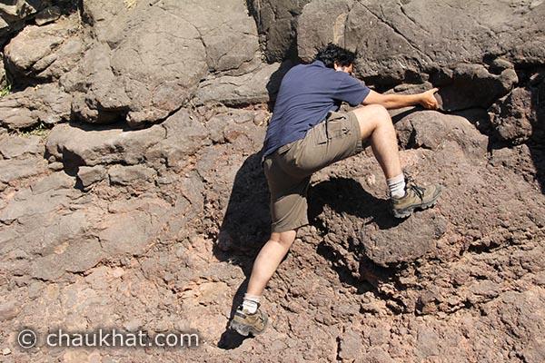 Bhavesh rock climbing