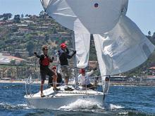 J/24 sailboat- sailing off Santa Barbara, California- Goblin Regatta