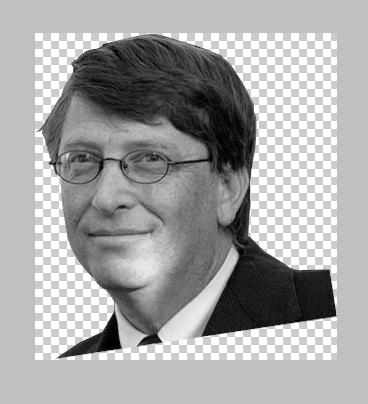 Imagem de Gates, em novo documento, em preto e branco